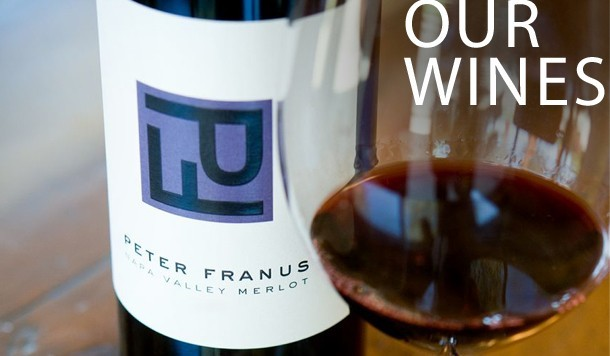 Franus bottle and glass with link to Shop Our Wines